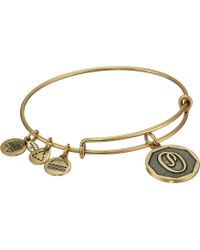 ALEX AND ANI - Initial O Charm Bangle (rafaelian Gold Finish) Bracelet - Lyst