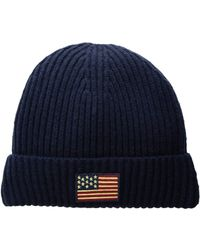 d380d8242ee Lyst - Polo Ralph Lauren American Flag Bear Cuff Hat With Pom in ...
