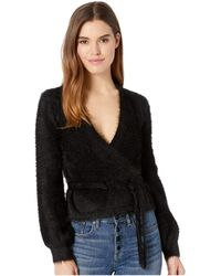 Cupcakes And Cashmere - Gigi Fluffy Faux Wrap Sweater (black) Women's Sweater - Lyst