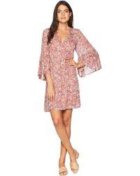 Lucky Brand - Printed Bell Sleeve Dress (pink Multi) Women's Dress - Lyst