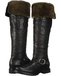 Frye - Vanessa Over The Knee (black Oiled Pull-up/shearling) Women's Boots - Lyst