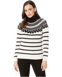 Lauren by Ralph Lauren - Cotton-blend Turtleneck Sweater (mascarpone Cream/polo Black Multi) Women's Sweater - Lyst