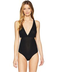 Only Hearts - Feather Weight Rib V-neck Cut Out Bodysuit (black) Women's Jumpsuit & Rompers One Piece - Lyst