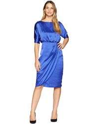 051872bc887c Maggy London - Hammered Satin Cocktail Blouson Dress (empire Blue) Women s  Dress - Lyst