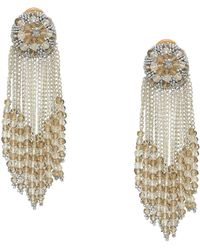be865940fc20 Oscar de la Renta - Chain Cluster Beaded C Earrings (crystal Shade silver)