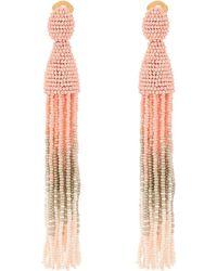 Oscar de la Renta | Long Ombre Beaded Tassel C Earrings | Lyst