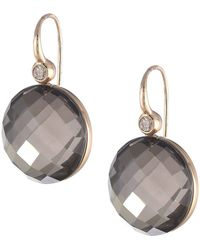 Roberto Coin - Cocktail Collection Earrings 18kt (doublet Rock Crystal/brown Diamonds) Earring - Lyst