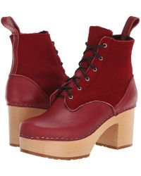Swedish Hasbeens - Hippie Lace-up (wine Red) Women's Boots - Lyst