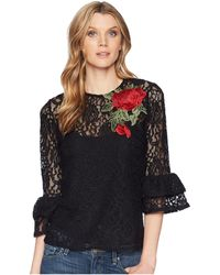 Scully - Kathe Lace Top W/ Tank And Rose Applique - Lyst
