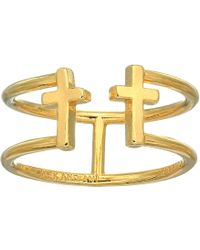 ALEX AND ANI - Cross Ring (14kt Gold Plated) Ring - Lyst