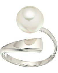 Majorica - Round Pearl Sterling Silver Wave Ring - Lyst