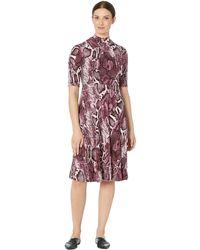 Donna Morgan - Snake-print Mock-neck Dress - Lyst