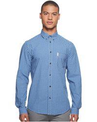 Ben Sherman - Long Sleeve Gingham Mod Shirt Ma10113a (cobalt) Men's Long Sleeve Button Up - Lyst