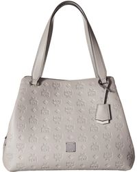 MCM - Essential Monogrammed Leather Medium Hobo (dove) Hobo Handbags - Lyst