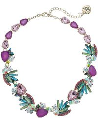 Betsey Johnson - S Colorful Stone And Cat Cluster Collar Necklace - Lyst
