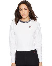 Fila - Dina Velour Crew (white/navy/metallic Gold) Women's Clothing - Lyst