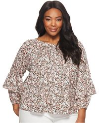 Lauren by Ralph Lauren - Plus Size Ruffled-cuff Floral Jersey Top (blush Multi) Women's Clothing - Lyst