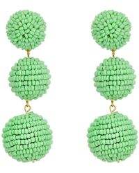Kenneth Jay Lane | 2 Mint Green Seed Bead Wrapped Ball Post Earrings W/ Dome Top | Lyst