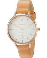 Skagen - Anita Skw2405 (rose Gold/tan) Watches - Lyst