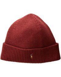 Polo Ralph Lauren - Signature Merino Cuff Hat (fireglow Heather) Caps - Lyst