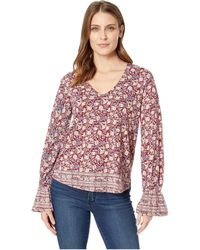 Lucky Brand - Border Print Cinched Sleeve Top (black Multi) Women's Clothing - Lyst