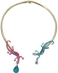 Betsey Johnson - Multicolor Lizzard Hinge Collar Necklace - Lyst