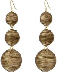 Kenneth Jay Lane - 3 Gold Thread Small To Large Wrapped Ball Post Fish Hook Ear Earrings (gold) Earring - Lyst