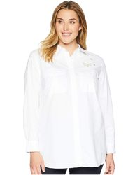 Lauren by Ralph Lauren - Plus Size Bullion-patch Poplin Shirt (white) Women's Clothing - Lyst