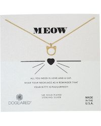 Dogeared - Meow, Cat Head Necklace (gold) Necklace - Lyst