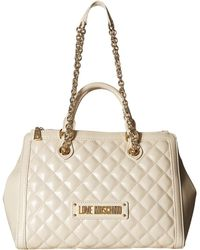 Love Moschino - Shiny Quilted Handbag With Chain Strap (ivory) Shoulder Handbags - Lyst