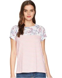Joules - Suzy Jersey/woven Mix T-shirt (white Indienne Floral) Women's T Shirt - Lyst
