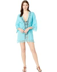 13e8d5507fc27 La Blanca - Island Fare V-neck Tunic Cover-up (aqua) Women's