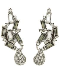 Alexis Bittar - Climbing Crystal Baguette Post Earrings (rhodium/ruthenium Accents) Earring - Lyst
