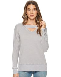Allen Allen | Deep V With Ribbed Neckband Sweatshirt | Lyst
