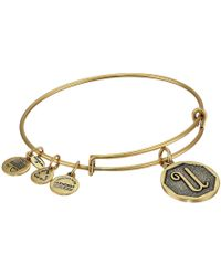 ALEX AND ANI - Initial U Charm Bangle (rafaelian Gold Finish) Bracelet - Lyst