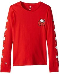 Converse - Hello Kitty(r) Long Sleeve Tee (fiery Red) Women's T Shirt - Lyst