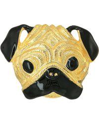 Kenneth Jay Lane - Gold/black Pug Pin (gold/black) Brooches Pins - Lyst