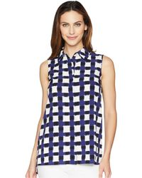 Ellen Tracy - Sleeveless Boyfriend Shirt (painterly Plaid/cadet Blue Combo) Women's Blouse - Lyst