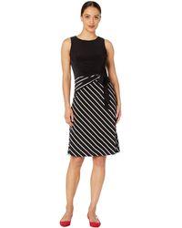 Lauren by Ralph Lauren - Petite B825p Chalk Stripe Katonda Sleeveless Day Dress (black/colonial Cream) Women's Clothing - Lyst