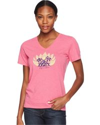 Life Is Good. - Sun Down Dog Cool Vee Tee (fiesta Pink) Women's T Shirt - Lyst