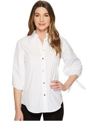 Lauren by Ralph Lauren - Cotton Tie-sleeve Shirt - Lyst