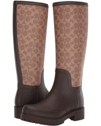 COACH - Signature Rain Boot With Signature Coated Canvas (tan/dark Brown Rubber) Women's Boots - Lyst