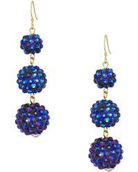 Kenneth Jay Lane - 3 Ball Drop Fishhook Earrings (black) Earring - Lyst