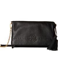 Tory Burch - Mcgraw Chain Fold-over Crossbody (black) Cross Body Handbags - Lyst