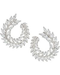 Nina - Front To Back Fern Hoop Earrings (rhodium/white Cz) Earring - Lyst