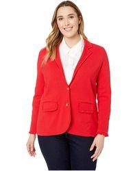 Lauren by Ralph Lauren - Plus Size Ruffle-trim Cotton-blend Blazer (lacquer Red) Women's Jacket - Lyst