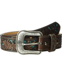 Ariat - Floral Embossed Turquoise Underlay Belt (brown) Men's Belts - Lyst