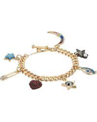 Steve Madden - Rolo Casted Heart Eye Moon Charm Bracelet (gold) Charms Bracelet - Lyst