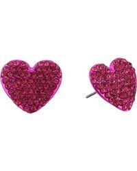 Betsey Johnson - Fuchsia Heart Stud Earrings (fuchsia) Earring - Lyst