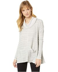 Mod-o-doc - Spacedyed Thermal Long Sleeve Swingy Cowl Neck Pullover (natural) Women's Long Sleeve Pullover - Lyst